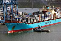aerial photograph of a loaded Maersk Lines containership at the Port of Balboa, being pulled from the dock for entry into the Panama Canal, Panama | fotografía aérea de un buque portacontenedores de Maersk Lines cargado en el Puerto de Balboa, siendo sacado del muelle para su entrada en el Canal de Panamá, Panamá