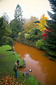 """15/10/18<br /> <br /> Complimenting the stunning autumnal colours in Pavilion Gardens, Buxton, Derbyshire, the river Wye has turn a vivid orange colour. <br /> <br /> The rare phenomenon, is explained on the 'Explore Buxton' website: """"After periods of heavy rain the river flowing through the town often turns a striking orange colour. This is caused when the river level raises and flows through iron bearing strata from the remains of coal mining workings in Burbage""""<br /> <br /> <br /> All Rights Reserved, F Stop Press Ltd. (0)1335 344240 +44 (0)7765 242650  www.fstoppress.com rod@fstoppress.com"""
