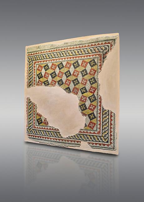 Roman mosaics - Geometric mosaic with 3d illusion. House of Oceanos, Ancient Zeugama, 2nd - 3rd century AD . Zeugma Mosaic Museum, Gaziantep, Turkey.