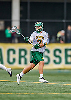 6 April 2019:  University of Vermont Catamount Midfielder Jack Knight, a Senior from Greenwich, CT, in action against the University at Albany Great Danes on Virtue Field in Burlington, Vermont. The Cats rallied to defeat the Danes 10-9 in America East divisional play. Mandatory Credit: Ed Wolfstein Photo *** RAW (NEF) Image File Available ***