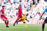 Tareq Khattab of Jordan (L) gets tripped as he competes for the ball with Awer Mabil of Australia (R) during the AFC Asian Cup UAE 2019 Group B match between Australia (AUS) and Jordan (JOR) at Hazza Bin Zayed Stadium on 06 January 2019 in Al Ain, United Arab Emirates. Photo by Marcio Rodrigo Machado / Power Sport Images