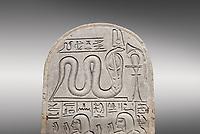 Ancient Egyptian stele dedicated by Pendua to Meretsesger, limestone, New Kingdom, 19th Dynasty, (1279-1213 BC), Deir el-Medina, Old Fund cat 1564. Egyptian Museum, Turin. Grey background