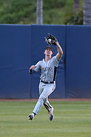 Jake Stone (51) of the Fresno State Bulldogs catches a fly ball during a game against the Pepperdine Waves at Eddy D. Field Stadium on March 7, 2017 in Los Angeles, California. Pepperdine defeated Fresno State, 8-7. (Larry Goren/Four Seam Images)
