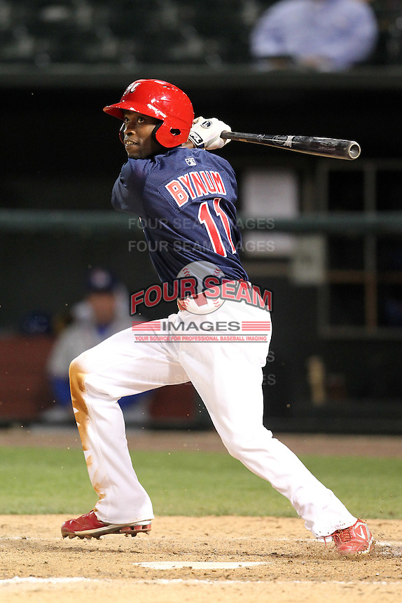 Memphis Redbirds second baseman Freddie Bynum #11 at bat during a game versus the Round Rock Express at Autozone Park on April 28, 2011 in Memphis, Tennessee.  Memphis defeated Round Rock by the score of 6-5 in ten innings.  Photo By Mike Janes/Four Seam Images