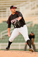 Relief pitcher Phil Negus #45 of the Kannapolis Intimidators in action against the Delmarva Shorebirds at Fieldcrest Cannon Stadium on May 23, 2011 in Kannapolis, North Carolina.   Photo by Brian Westerholt / Four Seam Images