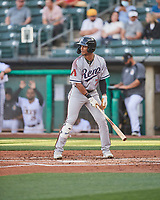 Nick Heath (7) of the Reno Aces at bat against the Salt Lake Bees at Smith's Ballpark on May 6, 2021 in Salt Lake City, Utah. The Aces defeated the Bees 5-4. (Stephen Smith/Four Seam Images)