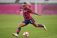 KASHIMA, JAPAN - AUGUST 5: Crystal Dunn #2 of the United States during a game between Australia and USWNT at Kashima Soccer Stadium on August 5, 2021 in Kashima, Japan.