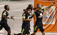 ENVIGADO -COLOMBIA-24-07-2015. Jean Carlos Blanco (Der) de La Equidad celebra un gol anotado a Envigado FC durante partido por la fecha 3 de la Liga Águila II 2015 realizado en el Polideportivo Sur de la ciudad de Envigado./ Jean Carlos Blanco (R) of La Equidad celebrates a goal scored to Envigado FC during match for the third date of the Aguila League II 2015 at Polideportivo Sur in Envigado city.  Photo: VizzorImage/León Monsalve/STR