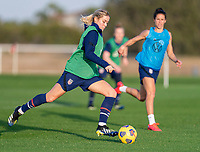 ORLANDO, FL - JANUARY 21: Abby Dahlkemper #7 of the USWNT takes a shot during a training session at the practice fields on January 21, 2021 in Orlando, Florida.