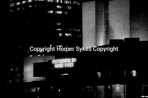 National Theatre, South Bank, London 1987. Name up in lights to advertise my exhibition The English Season taken from my book of the same name.