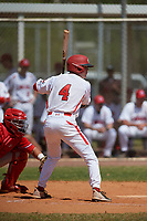 Canada Junior National Team Emilien Pitre (4) bats during an exhibition game against the Philadelphia Phillies on March 11, 2020 at Baseball City in St. Petersburg, Florida.  (Mike Janes/Four Seam Images)