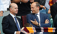 Calcio, Serie A: Roma vs Sampdoria. Roma, stadio Olimpico, 11 settembre 2016.<br /> Roma's general director Mauro Baldissoni, right, talks to new CEO Umberto Gandini prior to the start of the Italian Serie A football match between Roma and Sampdoria at Rome's Olympic stadium, 11 September 2016. Roma won 3-2.<br /> UPDATE IMAGES PRESS/Isabella Bonotto