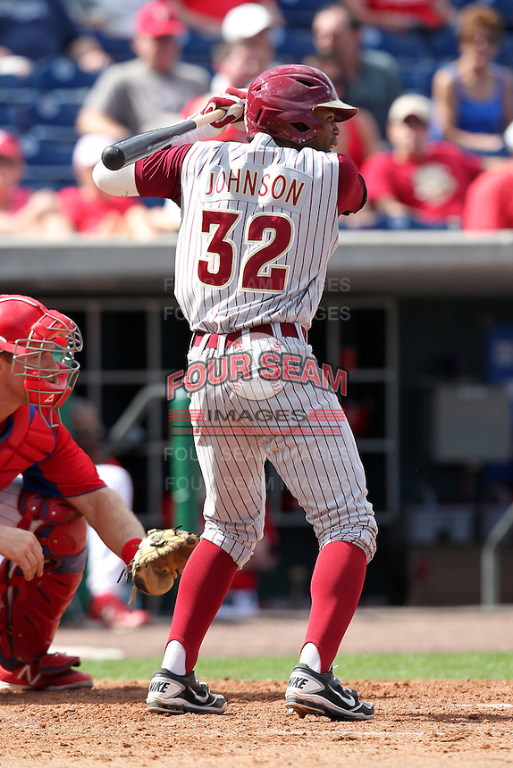 Florida State Seminoles outfielder Sherman Johnson #32 during a scrimmage against the Philadelphia Phillies at Brighthouse Field on February 29, 2012 in Clearwater, Florida.  Philadelphia defeated Florida State 6-1.  (Mike Janes/Four Seam Images)