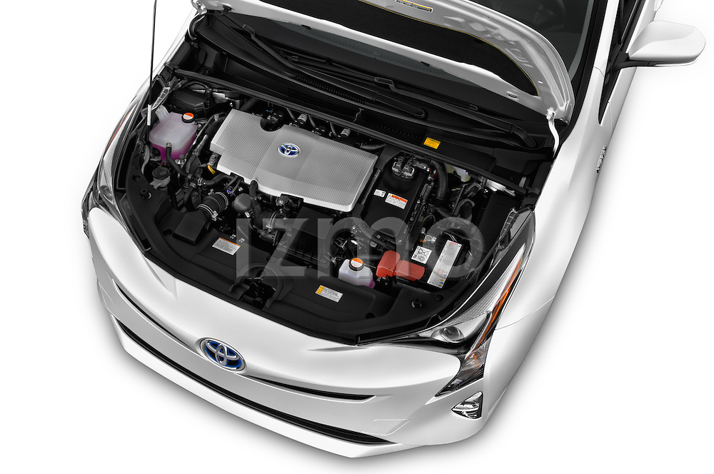 Car Stock 2016 Toyota Prius Comfort 5 Door Hatchback Engine  high angle detail view