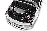 Car Stock 2016 Toyota Prius Comfort 5 Door Hatchback Engine  high angle detail view