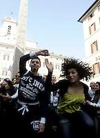 Ballerini si esibiscono durante un flash-mob per protestare contro i tagli alla cultura e allo spettacolo, di fronte a Montecitorio, Roma, 23 marzo 2011..Dancers perform during a flash mob to protest against cuts to entertainment and culture, in front of the Lower Chamber, Rome, 23 march 2011. .UPDATE IMAGES PRESS/Riccardo De Luca