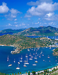 Antigua, West Indies   <br /> View of English Harbor and distant Falmouth Harbor from Shirley Heights - Leeward Caribbean Islands