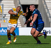 13th September 2020; AJ Bell Stadium, Salford, Lancashire, England; English Premiership Rugby, Sale Sharks versus Bath; Jonathan Joseph of Bath Rugby is tackled by Valery Morozov of Sale Sharks