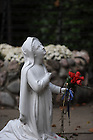 Statue of St. Bernadette at the Grotto..Photo by Matt Cashore/University of Notre Dame