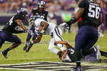 Jackson State Tigers running back Jordan Johnson (17) in action during the game between the Jackson State Tigers and the TCU Horned Frogs at the Amon G. Carter Stadium in Fort Worth, Texas.