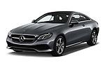 2018 Mercedes Benz E Class Executive 2 Door Coupe angular front stock photos of front three quarter view