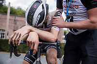 Nils Eekhoff (NED/Team Sunweb) post race exhausted after finishing second place. <br /> <br /> Dwars Door Het Hageland 2020<br /> One Day Race: Aarschot – Diest 180km (UCI 1.1)<br /> Bingoal Cycling Cup 2020