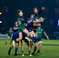 2nd January 2021; RDS Arena, Dublin, Leinster, Ireland; Guinness Pro 14 Rugby, Leinster versus Connacht; Hugh O'Sullivan of Leinster collects the highball