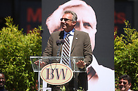 SAN FRANCISCO, CA - Joe Montana speaks at the public memorial service for former San Francisco 49ers head coach Bill Walsh at Candlestick Park (Monster Park) in San Francisco, California on August 10, 2007. Photo by Brad Mangin