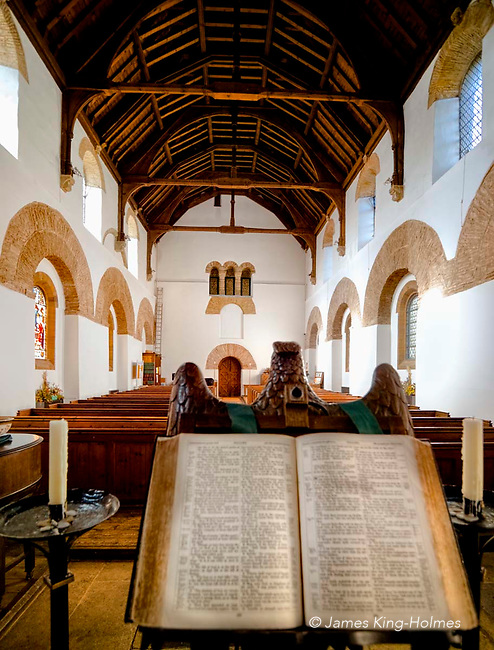 The Nave of All Saint's Church, Brixworth, UK, seen from the lectern.
