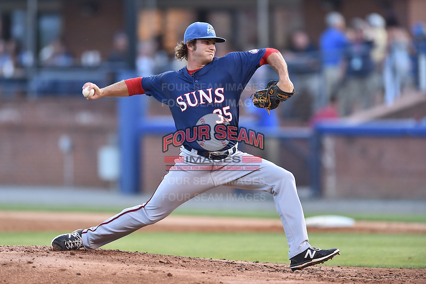 Hagerstown Suns pitcher Austen Williams (35) delivers a pitch during the South Atlantic League All Star Game on June 23, 2015 in Asheville, North Carolina. The North Division defeated the South 7-5(Tony Farlow/Four Seam Images)