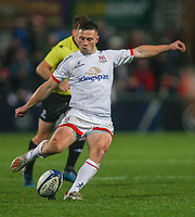 Friday 22nd November 2019   Ulster Rugby vs Clermont Auvergne<br /> <br /> John Cooney converts during the Heineken Champions Cup Pool 3 Round 2 match between Ulster Rugby  and Clermont Auvergne at Kingspan Stadium, Ravenhill Park, Belfast, Northern Ireland. Photo by John Dickson/DICKSONDIGITAL
