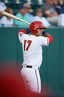 Harrisburg Senators third baseman Drew Ward (17) on deck during a game against the Bowie Baysox on May 16, 2017 at FNB Field in Harrisburg, Pennsylvania.  Bowie defeated Harrisburg 6-4.  (Mike Janes/Four Seam Images)