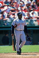 SAN FRANCISCO, CA:  Tony Gwynn of the San Diego Padres walks off the field during a game against the San Francisco Giants at Candlestick Park in San Francisco, California on July 1, 1995. (Photo by Brad Mangin)