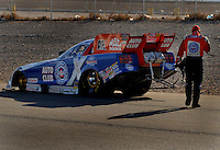 Apr 8, 2006; Las Vegas, NV, USA; NHRA Funny Car racer Robert Hight, driver of the Auto Club Ford Mustang after qualifying first for the Summitracing.com Nationals at Las Vegas Motor Speedway in Las Vegas, NV. Mandatory Credit: Mark J. Rebilas