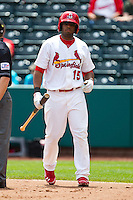 Xavier Scruggs (15) of the Springfield Cardinals walks to the batters box during a game against the Arkansas Travelers at Hammons Field on May 8, 2012 in Springfield, Missouri. (David Welker/ Four Seam Images)
