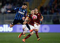 Calcio, Serie A: Roma vs Inter. Roma, stadio Olimpico, 19 marzo 2016.<br /> FC Inter's Danilo D'Ambrosio, left, is challenged by Stephan El Shaarawy during the Italian Serie A football match between Roma and FC Inter at Rome's Olympic stadium, 19 March 2016. The game ended 1-1.<br /> UPDATE IMAGES PRESS/Riccardo De Luca