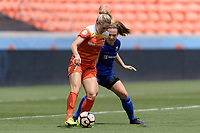Houston, TX - Saturday May 27, 2017: Rachel Corsie and Kealia Ohai (7) of the Houston Dash battle for control of the ball during a regular season National Women's Soccer League (NWSL) match between the Houston Dash and the Seattle Reign FC at BBVA Compass Stadium.