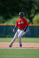 GCL Twins Jesus Feliz (1) leads off second base during a Gulf Coast League game against the GCL Pirates on August 6, 2019 at Pirate City in Bradenton, Florida.  GCL Twins defeated the GCL Pirates 4-2 in the first game of a doubleheader.  (Mike Janes/Four Seam Images)