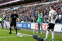 Referee Tony Harrington checks that the ball is in the right location before Bersant Celina of Swansea City takes a corner kick during the Sky Bet Championship match between Cardiff City and Swansea City at the Cardiff City Stadium, Cardiff, Wales, UK. Sunday 12 January 2020