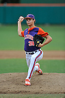 Freshman pitcher Jonny Koletic (39) of the Clemson Tigers in a fall practice intra-squad Orange-Purple scrimmage on Sunday, September 27, 2015, at Doug Kingsmore Stadium in Clemson, South Carolina. (Tom Priddy/Four Seam Images)