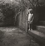 Vintage black and white print scan. File #77-186. Tolston, age 5, Lake Scaneapolis, NY