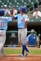 Tennessee Smokies third baseman Wes Darvill (8) high fives Willson Contreras (40) after a home run during a game against the Montgomery Biscuits on May 25, 2015 at Riverwalk Stadium in Montgomery, Alabama.  Tennessee defeated Montgomery 6-3 as the game was called after eight innings due to rain.  (Mike Janes/Four Seam Images)
