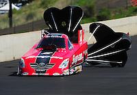 Jul. 23, 2011; Morrison, CO, USA: NHRA funny car driver Cruz Pedregon during qualifying for the Mile High Nationals at Bandimere Speedway. Mandatory Credit: Mark J. Rebilas-