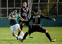 PALMASECA-COLOMBIA, 19-07-2017.  Fabián Sambueza (Izq.) jugador del Deportivo Cali disputa un balón con Michael Ortega (Der.) del Once Caldas  durante encuentro  por la fecha 3 de la Liga Aguila II 2017 disputado en el estadio del Deportivo Cali en Palmaseca./ Fabian Sambueza (L)  player of Deportivo Cali  fights the ball agaisnt Michael Ortega of Once Caldas  during match for the date 3 of the Aguila League II 2017 played at Deportivo Cali  stadium in Palmaseca. Photo:VizzorImage / Nelson Rios  / Cont