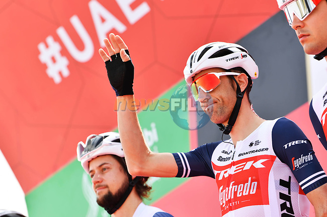 Vincenzo Nibali (ITA) Trek-Segafredo at sign on before the start of Stage 1 of the 2021 UAE Tour the ADNOC Stage running 176km from Al Dhafra Castle to Al Mirfa, Abu Dhabi, UAE. 21st February 2021.  <br /> Picture: LaPresse/Gian Mattia D'Alberto | Cyclefile<br /> <br /> All photos usage must carry mandatory copyright credit (© Cyclefile | LaPresse/Gian Mattia D'Alberto)