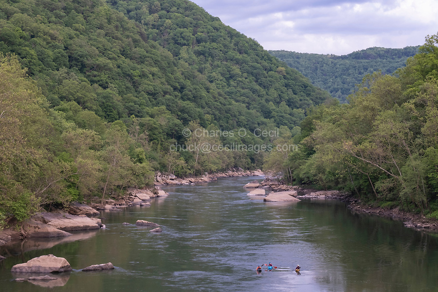 New River Gorge National Park, West Virginia.  Kayakers on the New River