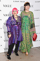 Zandra Rhodes and Grace Woodward<br /> at the Vogue 100: A Century of Style exhibition opening held in the National Portrait Gallery, London.<br /> <br /> <br /> ©Ash Knotek  D3080 09/02/2016