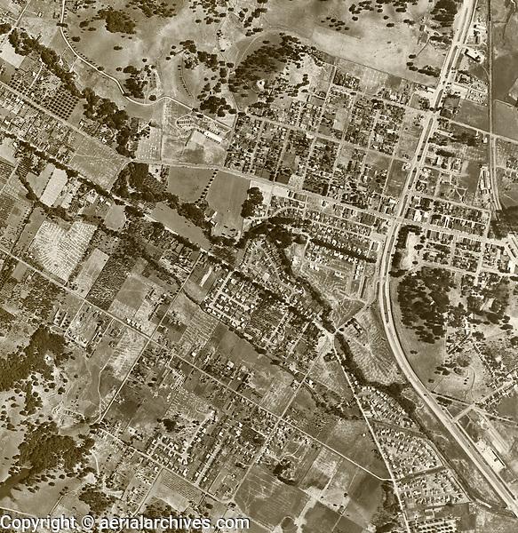 historical aerial photograph Novato, Marin County, California, 1952