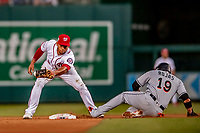 26 September 2018: Washington Nationals infielder Adrian Sanchez gets Miami Marlins shortstop Miguel Rojas out at second on a force play in the 7th inning at Nationals Park in Washington, DC. The Nationals defeated the visiting Marlins 9-3, closing out Washington's 2018 home season. Mandatory Credit: Ed Wolfstein Photo *** RAW (NEF) Image File Available ***