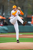 Tennessee Volunteers starting pitcher Garrett Crochet (34) in action against the Florida Gators in Southeastern Conference play at Lindsey Nelson Stadium in Knoxville, Tennessee, on April 7, 2018. Florida beat Tennessee 22-6. (Danny Parker/Four Seam Images)